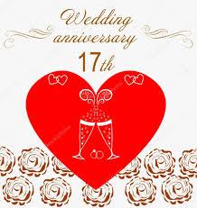 17 th wedding anniversary invitation u2014 stock vector ninarubanyuk