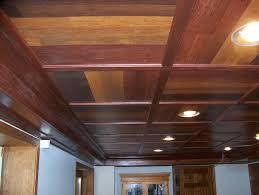 wooden basement ceiling with modern lighting drop ceiling tiles