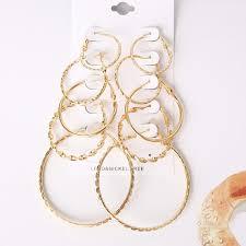 226183201 multi size 5 pairs of hoop earrings golden earring