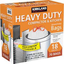Kitchen Trash Compactor by Kirkland Signature Compactor U0026 Kitchen Trash Bags 18 Gallon 70 Ct