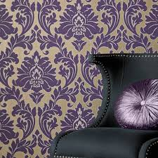 Purple Damask Wallpaper by Majestic Purple Wallpaper Graham U0026 Brown