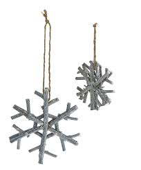 pack of 6 handmade country rustic gray glitter twig snowflake