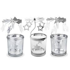 christmas tea light candle holders spinning silver metal christmas carousel tea light candle holders