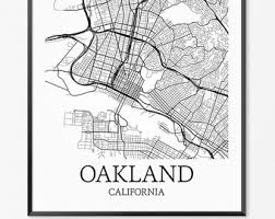 map of oakland oakland map etsy