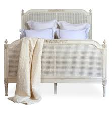 blanka french country antique white elegant caned queen bed