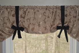 window treatment tie up valance tan and black valance swag