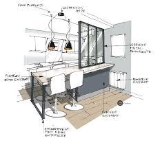 plans de cuisines ouvertes croquis cuisine ouverte avec verrière et suspension métal croquis