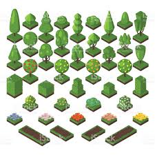 isometric tree set green forest nature vector illustration stock
