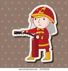 fireman cartoon sticker icon stock illustration 274769156