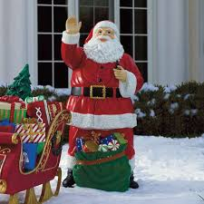 fiber optic santa with bag of toys outdoor decor