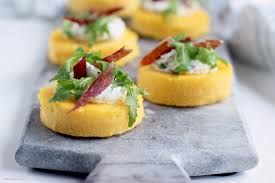 cuisine polenta polenta crostini with jamon ricotta and rocket the cook