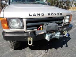 discovery land rover 2000 britpart heavy duty front steel bumper with 9500 lb winch kit for