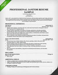 Janitor Resume Examples by I Want One Good Resume Places To Visit Pinterest