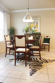decor gusto grace zebra cowhide rug white and black dining room