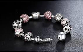 charm bead bangle bracelet images Pink flower crystal love charm silver bead bangle bracelet jpg