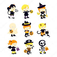 halloween kids costume icons u2014 stock vector totallyjamie 71193187