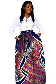 wholesale stylish diagram block african print maxi skirt