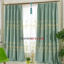 Country Curtains For Living Room Blue Floral Embroidery Linen Cotton Blend Country Curtains For