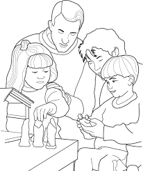a family setting up their nativity scene for christmas a coloring