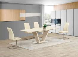 Extending Cream Glass High Gloss Dining Table   Cream Chairs - Cream kitchen table