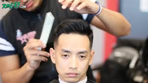 barber tutorial side part fade with asian hair youtube