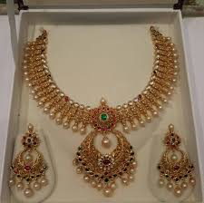pearls necklace set images Gold pearl necklace set from mahalaxmi jewellers south india jewels jpg