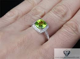 peridot engagement rings cushion cut peridot diamond pave halo engagement ring