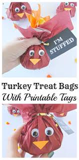turkey treat bags with printable tags printable tags thanksgiving