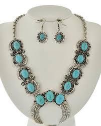 light blue statement necklace southwestern light blue stone squash flower statement necklace