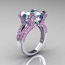 pink wedding rings vintage 14k white gold 3 0 ct aquamarine light pink