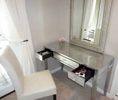 White Glass Bedroom Furniture Modern Silver Make Up Table With White Vinyl Upholstered Seat With