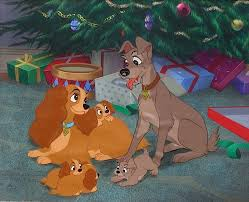 cel background lady tramp puppies christmas