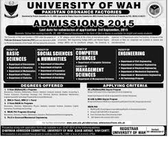 M S University by University Of Wah Wah Cantt Admission In Bsc Bba Ms Mphil Phd