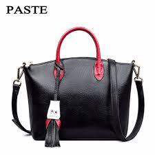 paste women genuine leather handbag tassel messenger bags soft