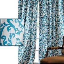 Teal And White Curtains Stamford Teal Printed Cotton 120 Inch Curtain Panel Overstock
