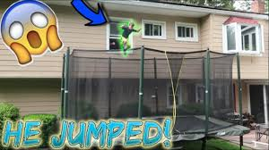 insane backyard trampoline park jumped out window youtube