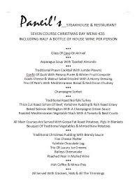 paneils restaurant benidorm christmas day menu 2015