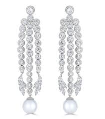 silver chandelier earrings pearl cz chandelier earrings bridal jewelry
