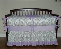 Purple Nursery Bedding Sets Lilac Osborne Damask Grey Chevron Custom Baby Crib Bedding