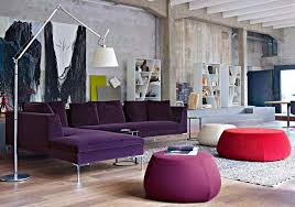 Living Room With Purple Sofa Contemporary Living Room With Floor L And Purple Sofa
