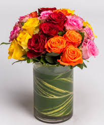 Colorful Roses Colorful Rose Arrangement Valentine U0027s Day Flower Delivery