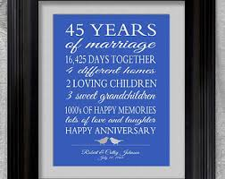 45 wedding anniversary 45th wedding anniversary gift for parents by printsbychristine