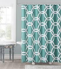Lattice Design Curtains Aqua And White Embossed Fabric Shower Curtain Chain