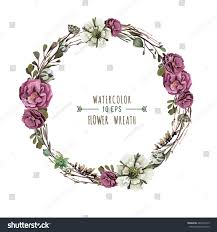 flower wreath vector flower wreath watercolor style vintage stock vector