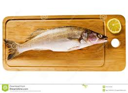 cuisiner le sandre sandre sur un panneau en bois de cuisine photo stock image du