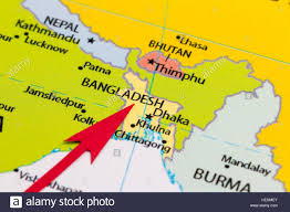 Asia Continent Map by Red Arrow Pointing Bangladesh On The Map Of Asia Continent Stock