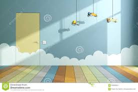 child room empty child room with toy airplanes stock illustration