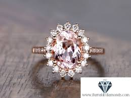 oval cut diamond 7x9mm oval cut morganite engagement ring flower style diamond pave