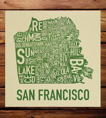 San Francisco Districts Map by San Francisco Neighborhood Map Art Print Art Prints U0026 Posters