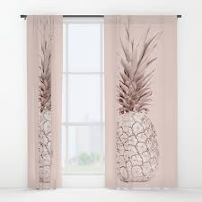Blush Pink Curtains Gold Pineapple On Blush Pink Window Curtains By